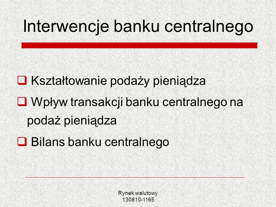Rynek walutowy 130810-1165 Sterylizowana interwencja BC przeciwstawne transakcje BC na rynku aktywów krajowych i zagranicznych niwelowanie wpływu operacji walutowych na krajową podaż pieniądza Przykład: Sprzedaż aktywów zagranicznych przez BC bankowi komercyjnemu przy jednoczesnym zakupie krajowych obligacji rządowych Wpływ na bilans- zwiększenie aktywów krajowych, zmniejszenie zagranicznych, gotówka w obiegu bez zmian