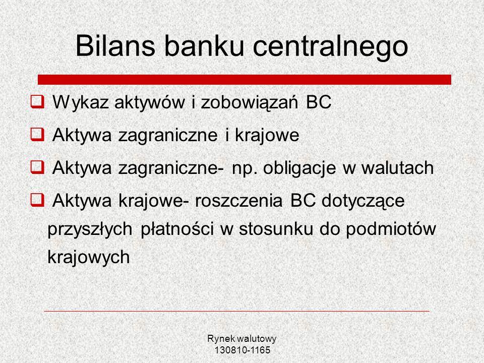 Rynek walutowy 130810-1165 Bilans banku centralnego Wykaz aktywów i zobowiązań BC Aktywa zagraniczne i krajowe Aktywa zagraniczne- np. obligacje w wal