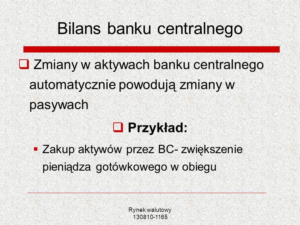Rynek walutowy 130810-1165 Bilans banku centralnego Zmiany w aktywach banku centralnego automatycznie powodują zmiany w pasywach Przykład: Zakup aktyw