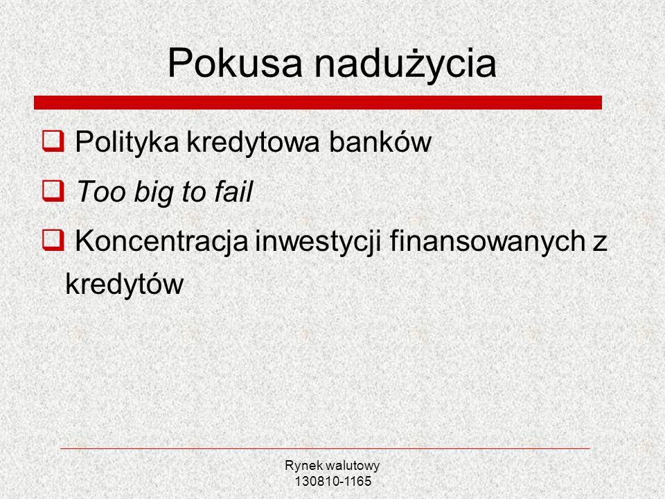 Rynek walutowy 130810-1165 Pokusa nadużycia Polityka kredytowa banków Too big to fail Koncentracja inwestycji finansowanych z kredytów
