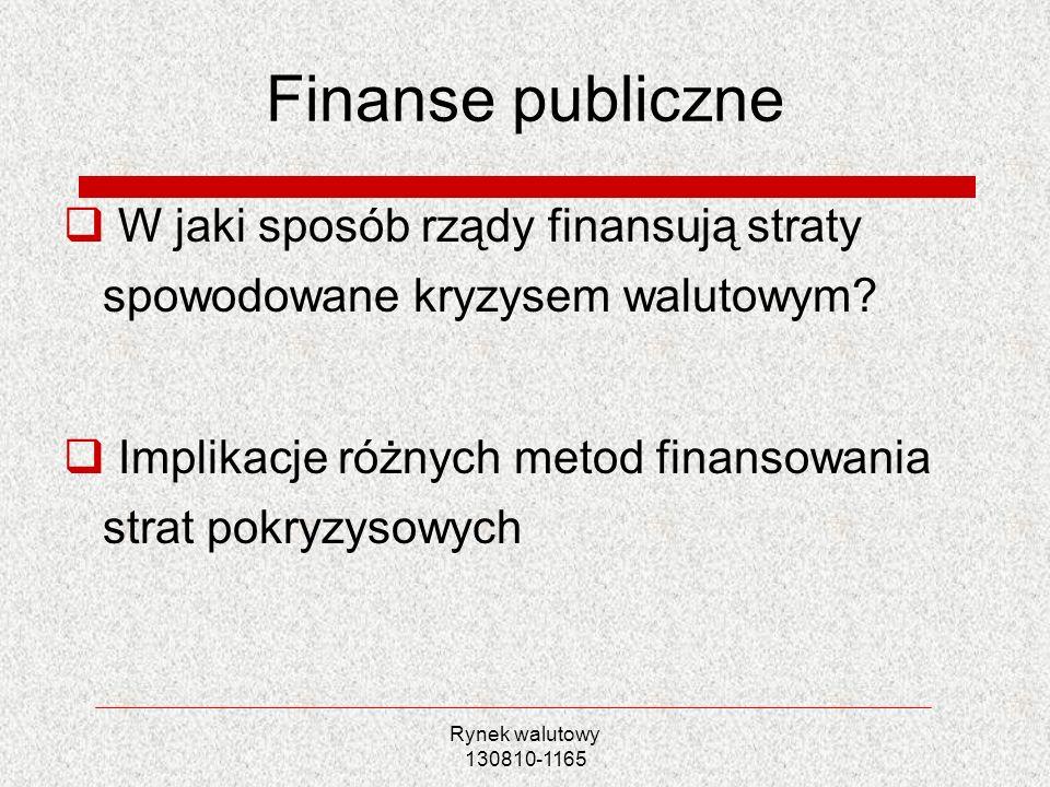 Rynek walutowy 130810-1165 Finanse publiczne W jaki sposób rządy finansują straty spowodowane kryzysem walutowym? Implikacje różnych metod finansowani