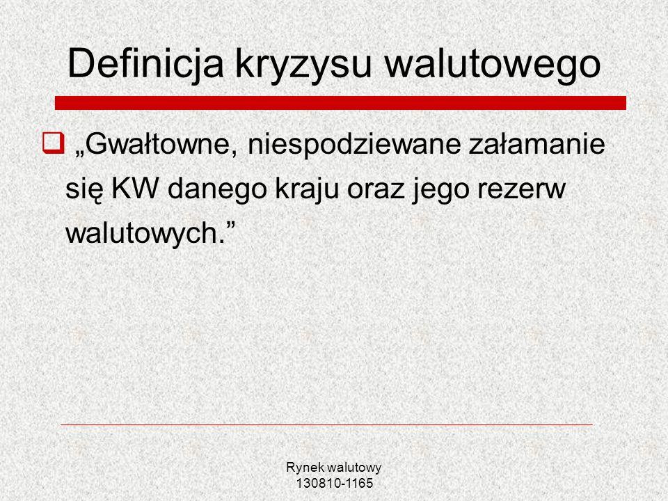 Rynek walutowy 130810-1165 Definicja kryzysu walutowego Gwałtowne, niespodziewane załamanie się KW danego kraju oraz jego rezerw walutowych.
