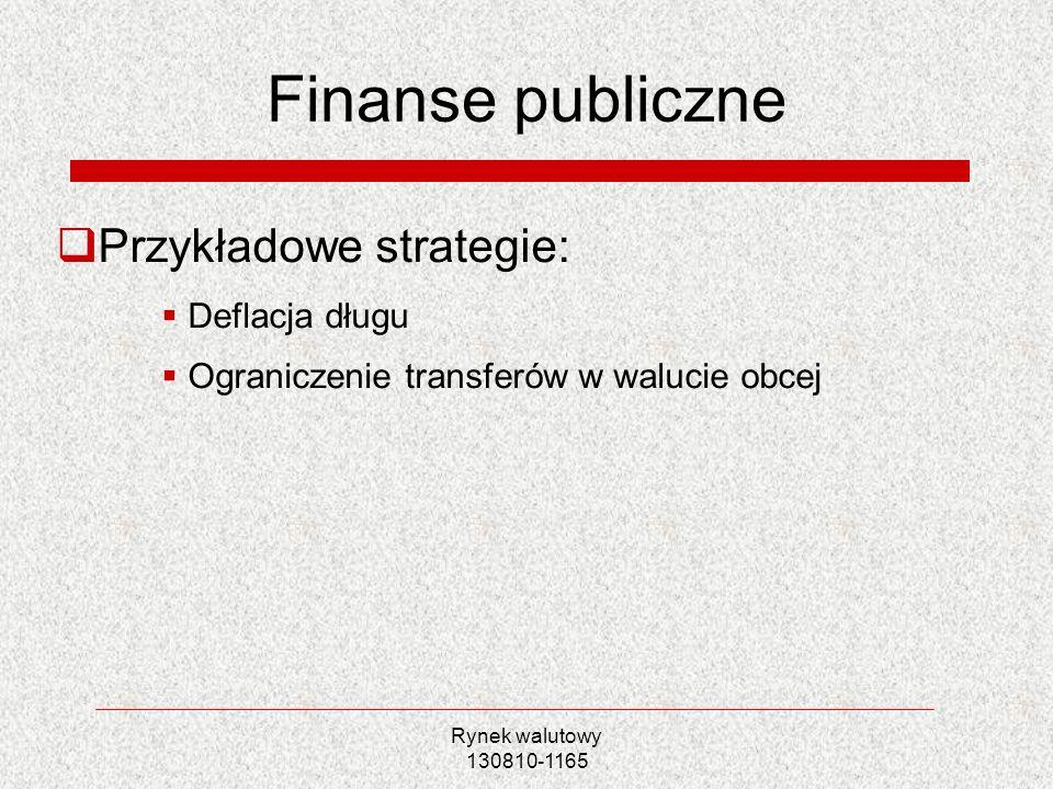 Rynek walutowy 130810-1165 Finanse publiczne Przykładowe strategie: Deflacja długu Ograniczenie transferów w walucie obcej