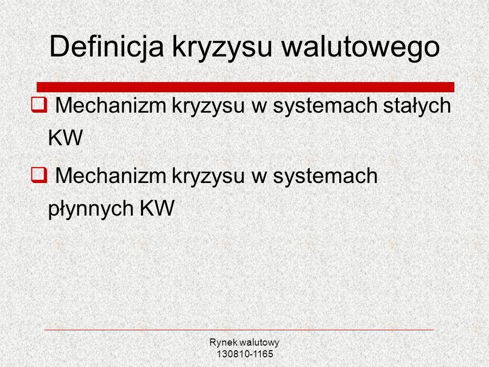 Rynek walutowy 130810-1165 Definicja kryzysu walutowego Mechanizm kryzysu w systemach stałych KW Mechanizm kryzysu w systemach płynnych KW