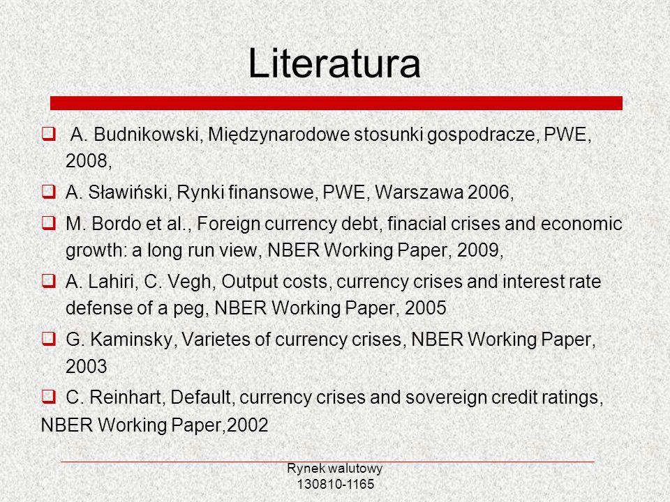 Rynek walutowy 130810-1165 Literatura A. Budnikowski, Międzynarodowe stosunki gospodracze, PWE, 2008, A. Sławiński, Rynki finansowe, PWE, Warszawa 200