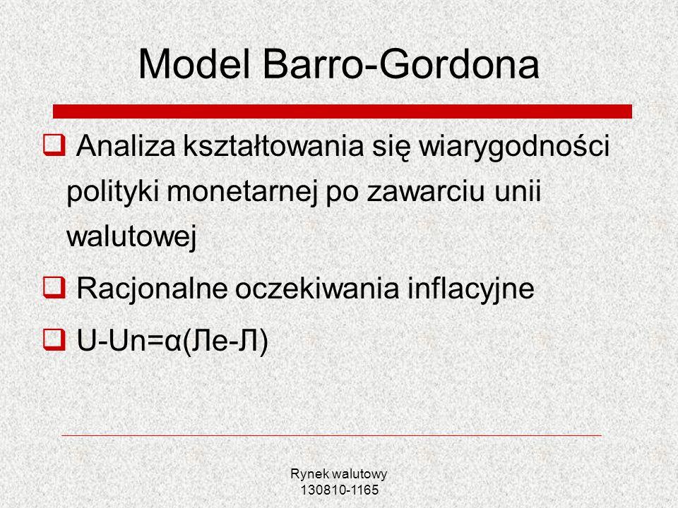 Rynek walutowy 130810-1165 Model Barro-Gordona Analiza kształtowania się wiarygodności polityki monetarnej po zawarciu unii walutowej Racjonalne oczek