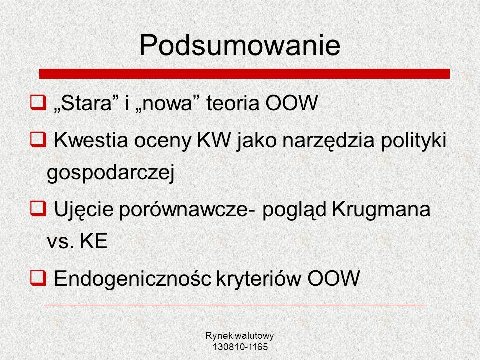 Rynek walutowy 130810-1165 Podsumowanie Stara i nowa teoria OOW Kwestia oceny KW jako narzędzia polityki gospodarczej Ujęcie porównawcze- pogląd Krugm