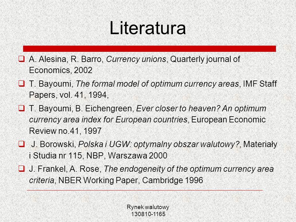 Rynek walutowy 130810-1165 Literatura A. Alesina, R. Barro, Currency unions, Quarterly journal of Economics, 2002 T. Bayoumi, The formal model of opti