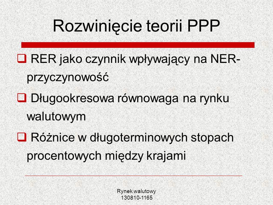 Rynek walutowy 130810-1165 Rozwinięcie teorii PPP RER jako czynnik wpływający na NER- przyczynowość Długookresowa równowaga na rynku walutowym Różnice