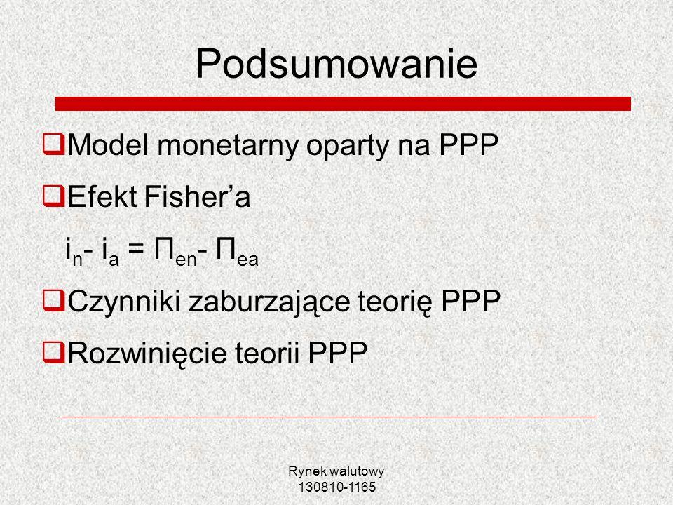 Rynek walutowy 130810-1165 Podsumowanie Model monetarny oparty na PPP Efekt Fishera i n - i a = Π en - Π ea Czynniki zaburzające teorię PPP Rozwinięci