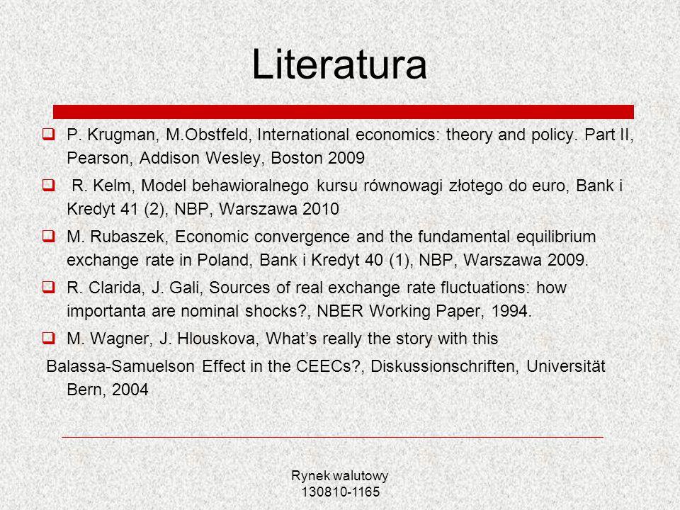Rynek walutowy 130810-1165 Literatura P. Krugman, M.Obstfeld, International economics: theory and policy. Part II, Pearson, Addison Wesley, Boston 200