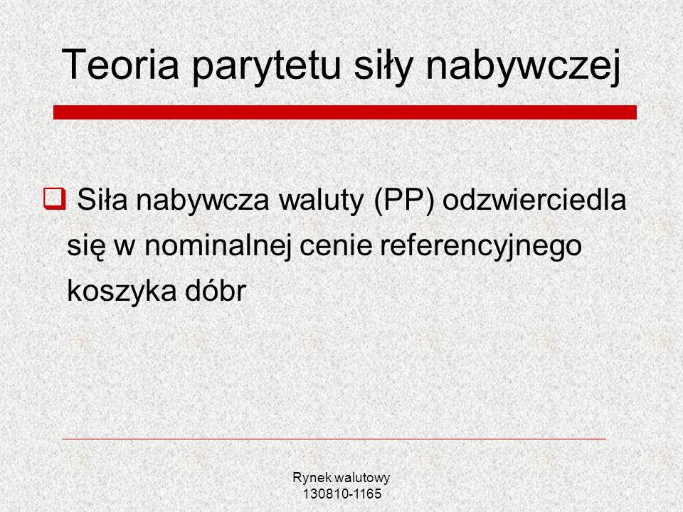 Rynek walutowy 130810-1165 Model monetarny oparty na PPP Sprzeczne wnioski?.