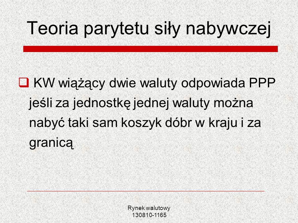 Rynek walutowy 130810-1165 Teoria parytetu siły nabywczej KW wiążący dwie waluty odpowiada PPP jeśli za jednostkę jednej waluty można nabyć taki sam k