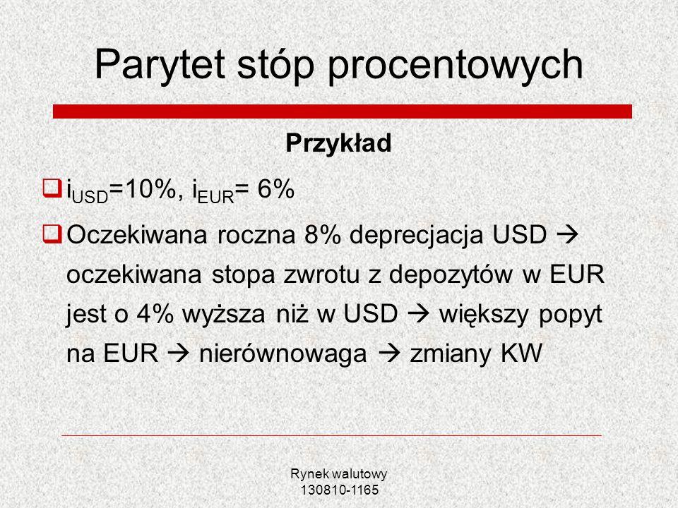 Rynek walutowy 130810-1165 Parytet stóp procentowych Przykład i USD =10%, i EUR = 6% Oczekiwana roczna 8% deprecjacja USD oczekiwana stopa zwrotu z de