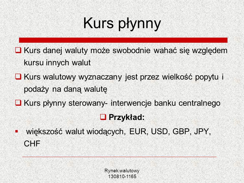 Rynek walutowy 130810-1165 Kurs płynny Kurs danej waluty może swobodnie wahać się względem kursu innych walut Kurs walutowy wyznaczany jest przez wiel