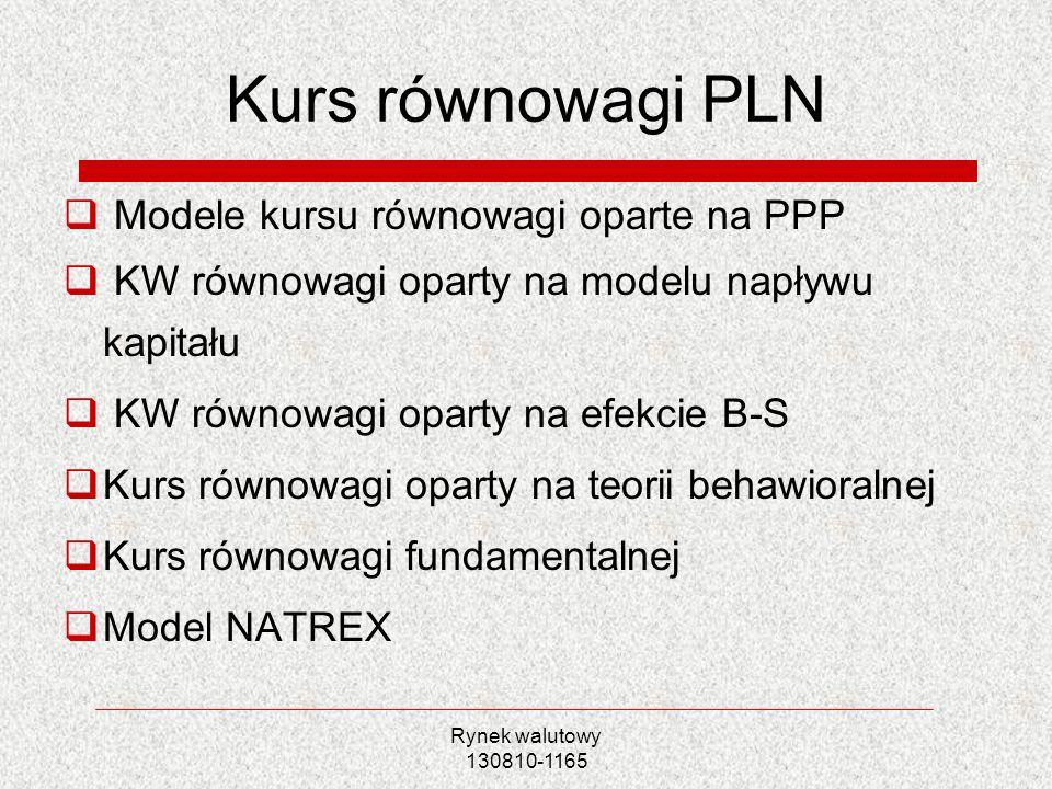 Rynek walutowy 130810-1165 Kurs równowagi PLN Modele kursu równowagi oparte na PPP KW równowagi oparty na modelu napływu kapitału KW równowagi oparty
