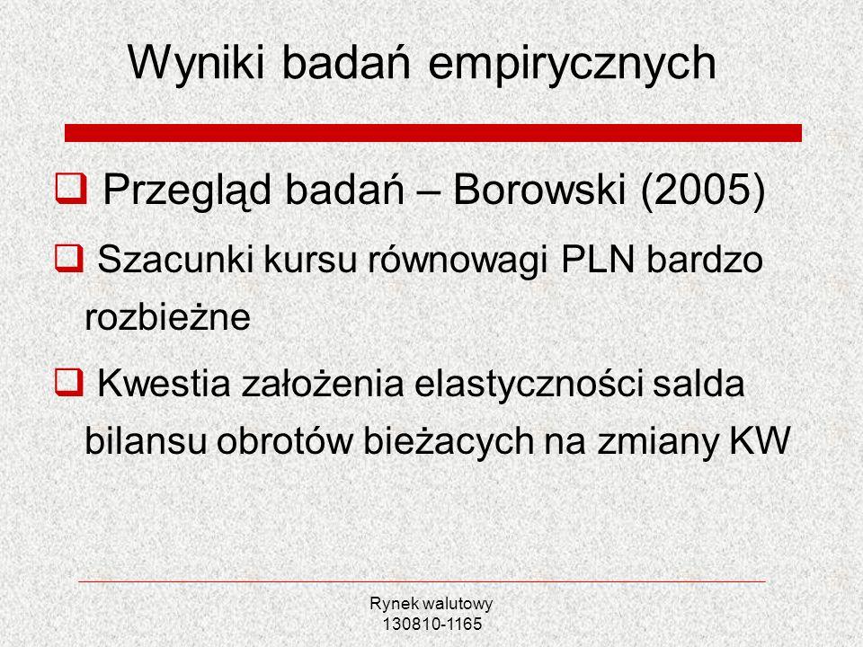 Rynek walutowy 130810-1165 Wyniki badań empirycznych Przegląd badań – Borowski (2005) Szacunki kursu równowagi PLN bardzo rozbieżne Kwestia założenia