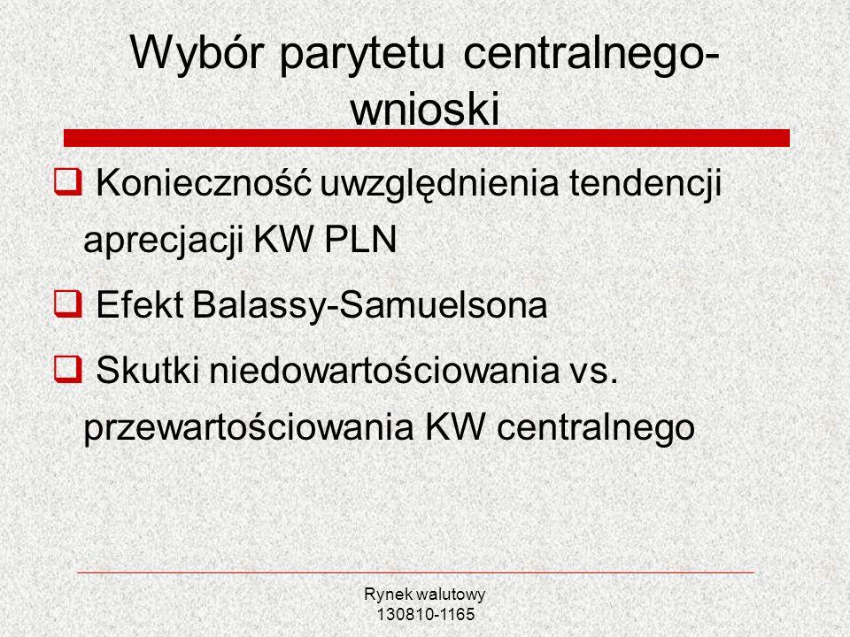 Rynek walutowy 130810-1165 Wybór parytetu centralnego- wnioski Konieczność uwzględnienia tendencji aprecjacji KW PLN Efekt Balassy-Samuelsona Skutki n