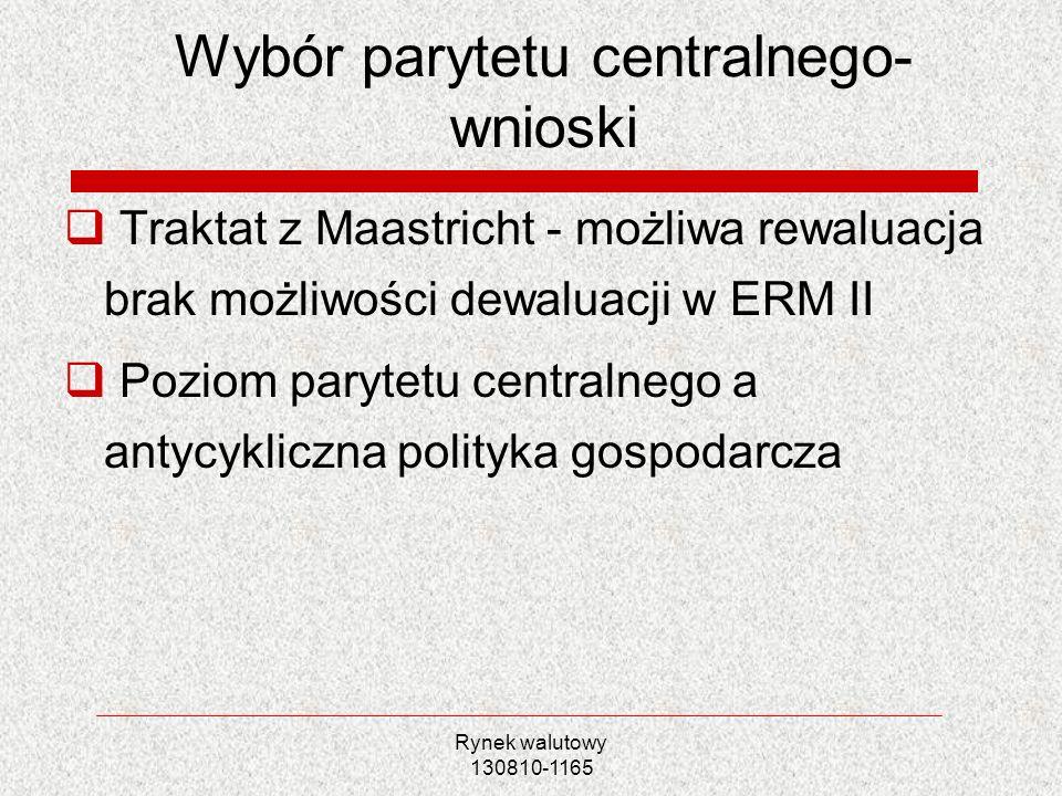 Rynek walutowy 130810-1165 Wybór parytetu centralnego- wnioski Traktat z Maastricht - możliwa rewaluacja brak możliwości dewaluacji w ERM II Poziom pa