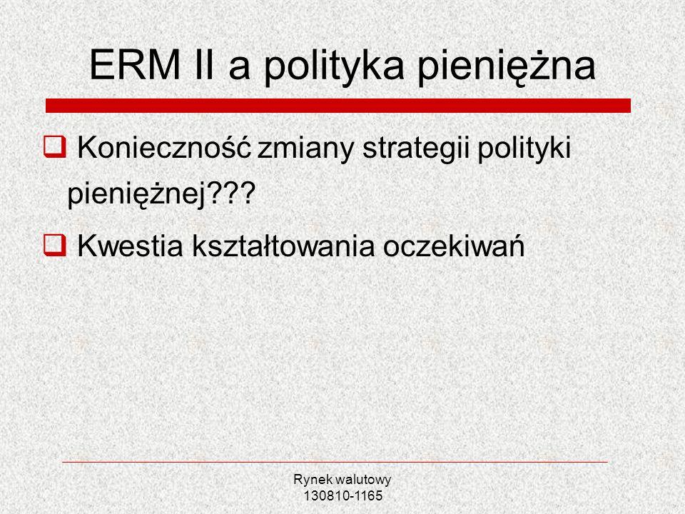Rynek walutowy 130810-1165 ERM II a polityka pieniężna Konieczność zmiany strategii polityki pieniężnej??? Kwestia kształtowania oczekiwań