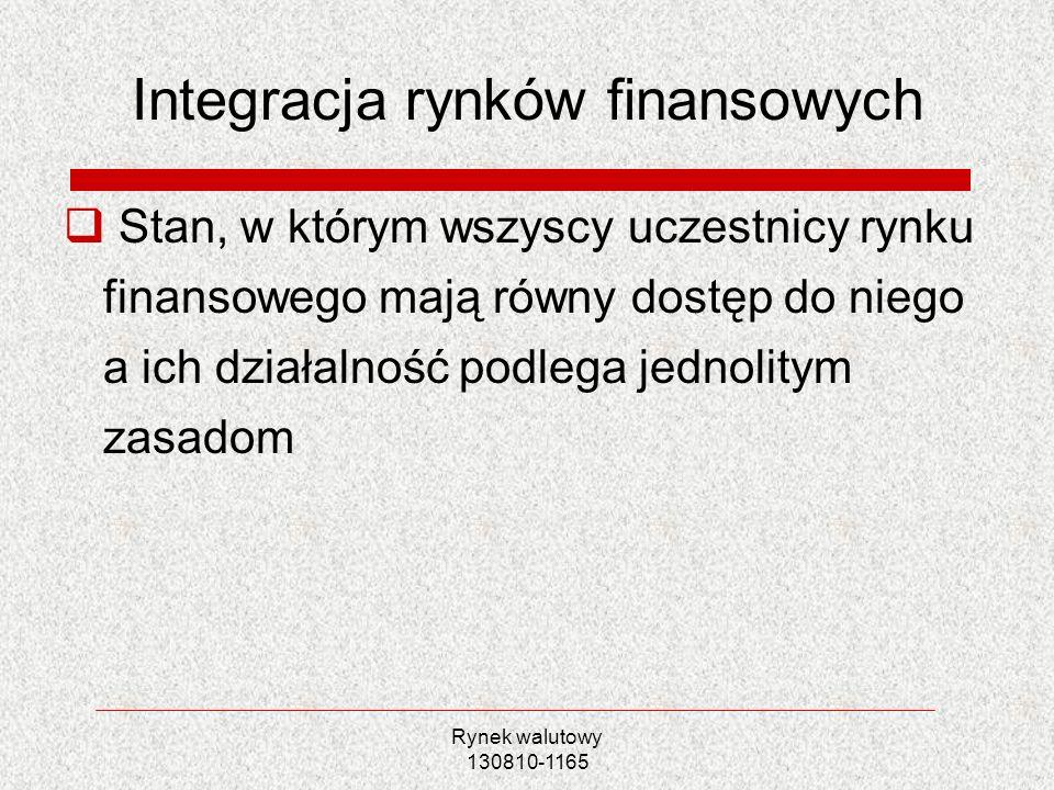 Rynek walutowy 130810-1165 Integracja rynków finansowych Stan, w którym wszyscy uczestnicy rynku finansowego mają równy dostęp do niego a ich działaln