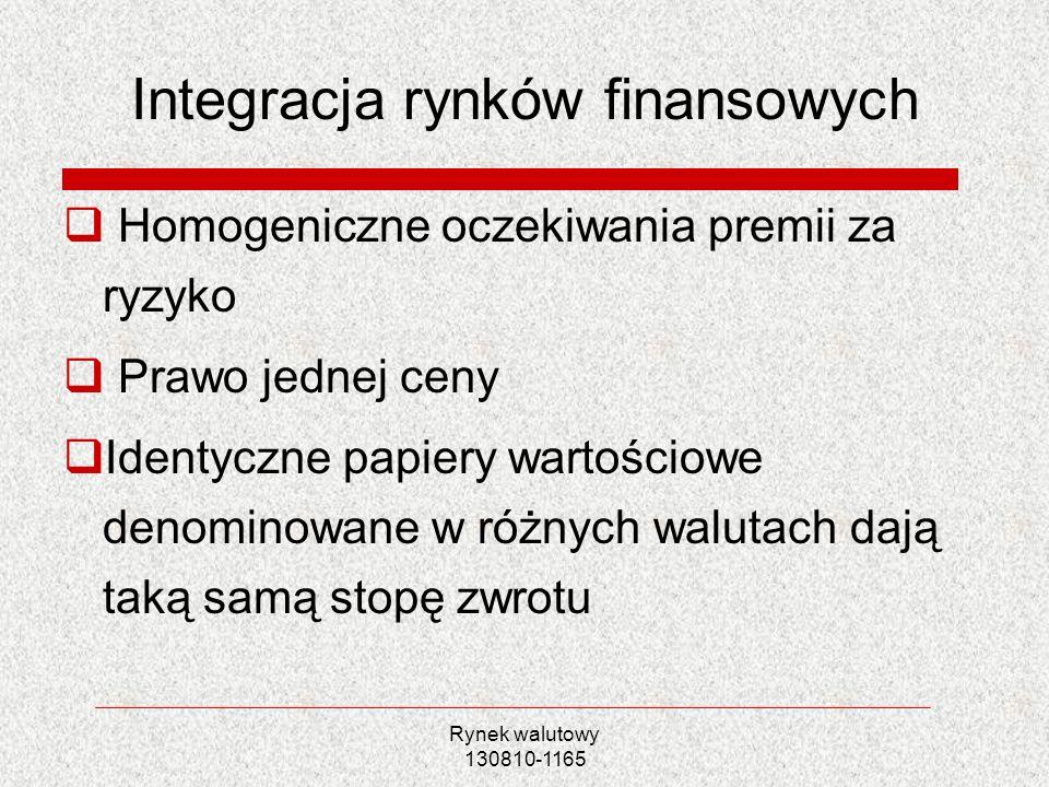 Rynek walutowy 130810-1165 Integracja rynków finansowych Homogeniczne oczekiwania premii za ryzyko Prawo jednej ceny Identyczne papiery wartościowe de