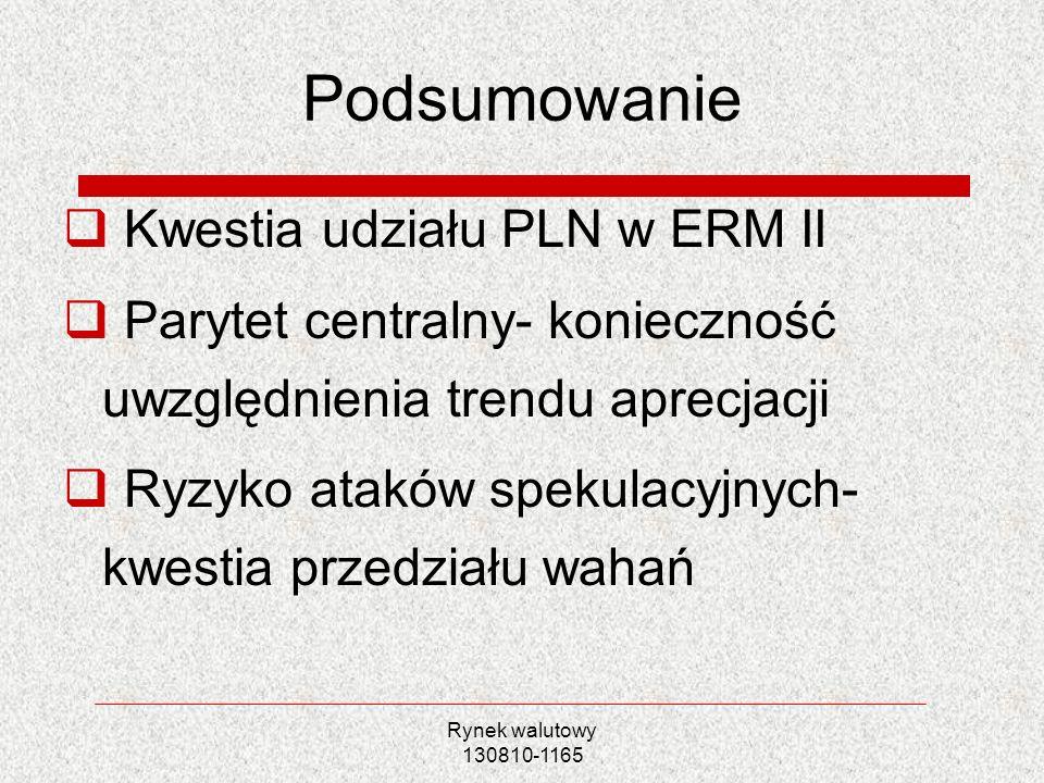Rynek walutowy 130810-1165 Podsumowanie Kwestia udziału PLN w ERM II Parytet centralny- konieczność uwzględnienia trendu aprecjacji Ryzyko ataków spek