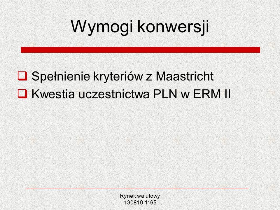 Rynek walutowy 130810-1165 Wymogi konwersji Spełnienie kryteriów z Maastricht Kwestia uczestnictwa PLN w ERM II