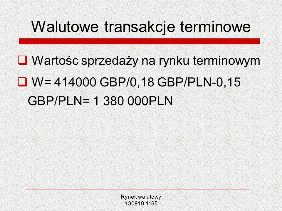 Rynek walutowy 130810-1165 Walutowe transakcje terminowe Wartośc sprzedaży na rynku terminowym W= 414000 GBP/0,18 GBP/PLN-0,15 GBP/PLN= 1 380 000PLN