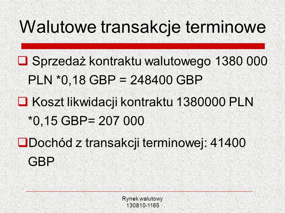 Rynek walutowy 130810-1165 Walutowe transakcje terminowe Sprzedaż kontraktu walutowego 1380 000 PLN *0,18 GBP = 248400 GBP Koszt likwidacji kontraktu