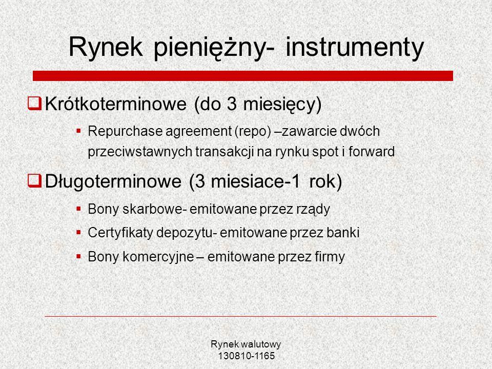 Rynek walutowy 130810-1165 Rynek pieniężny- instrumenty Krótkoterminowe (do 3 miesięcy) Repurchase agreement (repo) –zawarcie dwóch przeciwstawnych tr