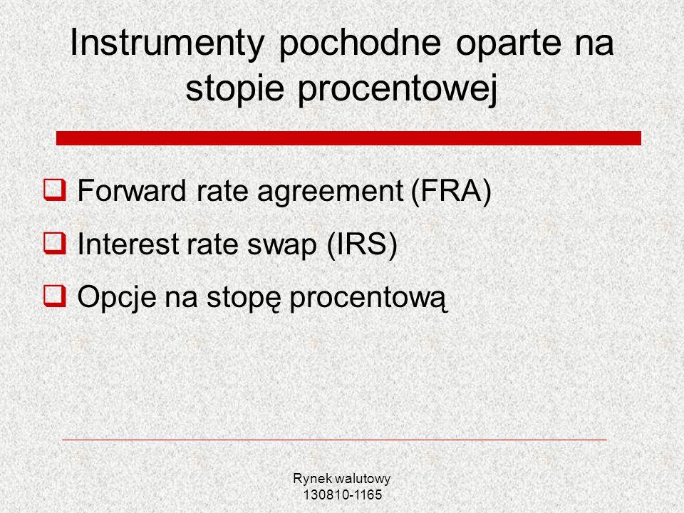 Rynek walutowy 130810-1165 Instrumenty pochodne oparte na stopie procentowej Forward rate agreement (FRA) Interest rate swap (IRS) Opcje na stopę proc