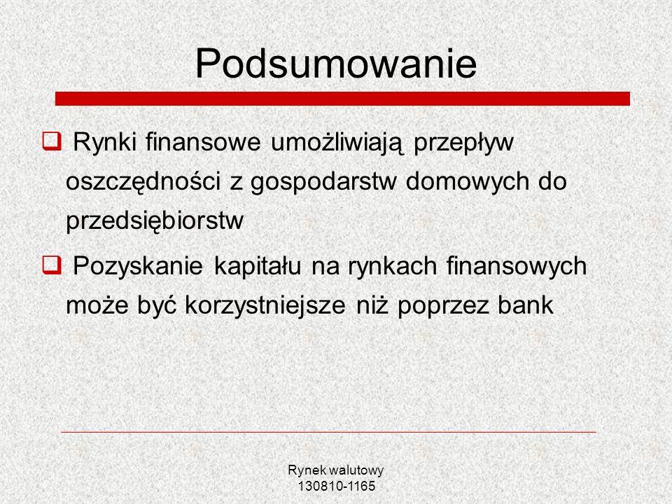 Rynek walutowy 130810-1165 Podsumowanie Rynki finansowe umożliwiają przepływ oszczędności z gospodarstw domowych do przedsiębiorstw Pozyskanie kapitał