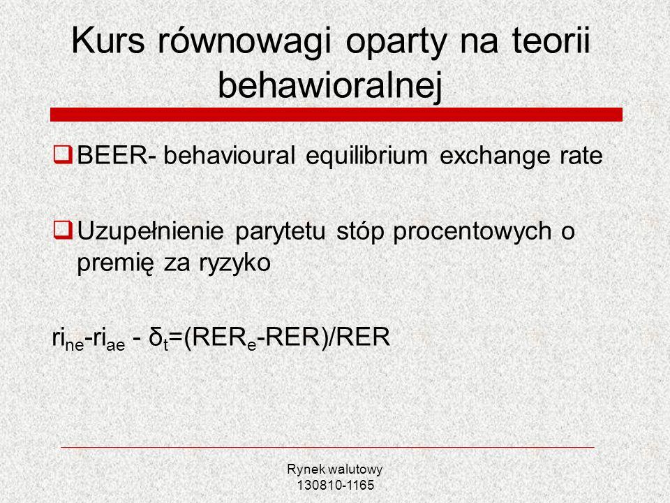 Rynek walutowy 130810-1165 Kurs równowagi oparty na teorii behawioralnej BEER- behavioural equilibrium exchange rate Uzupełnienie parytetu stóp procen