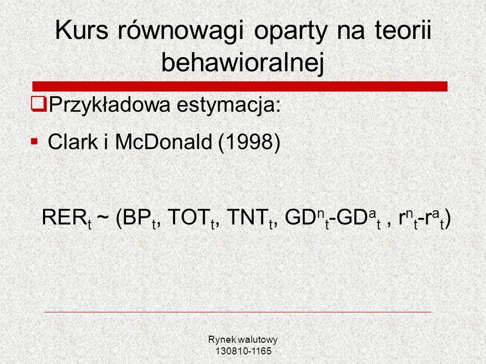 Rynek walutowy 130810-1165 Kurs równowagi oparty na teorii behawioralnej Przykładowa estymacja: Clark i McDonald (1998) RER t ~ (BP t, TOT t, TNT t, G