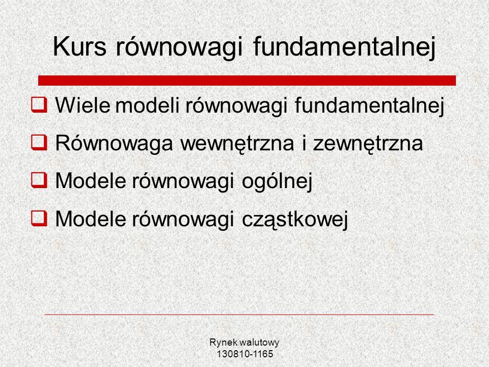 Rynek walutowy 130810-1165 Kurs równowagi fundamentalnej Wiele modeli równowagi fundamentalnej Równowaga wewnętrzna i zewnętrzna Modele równowagi ogól