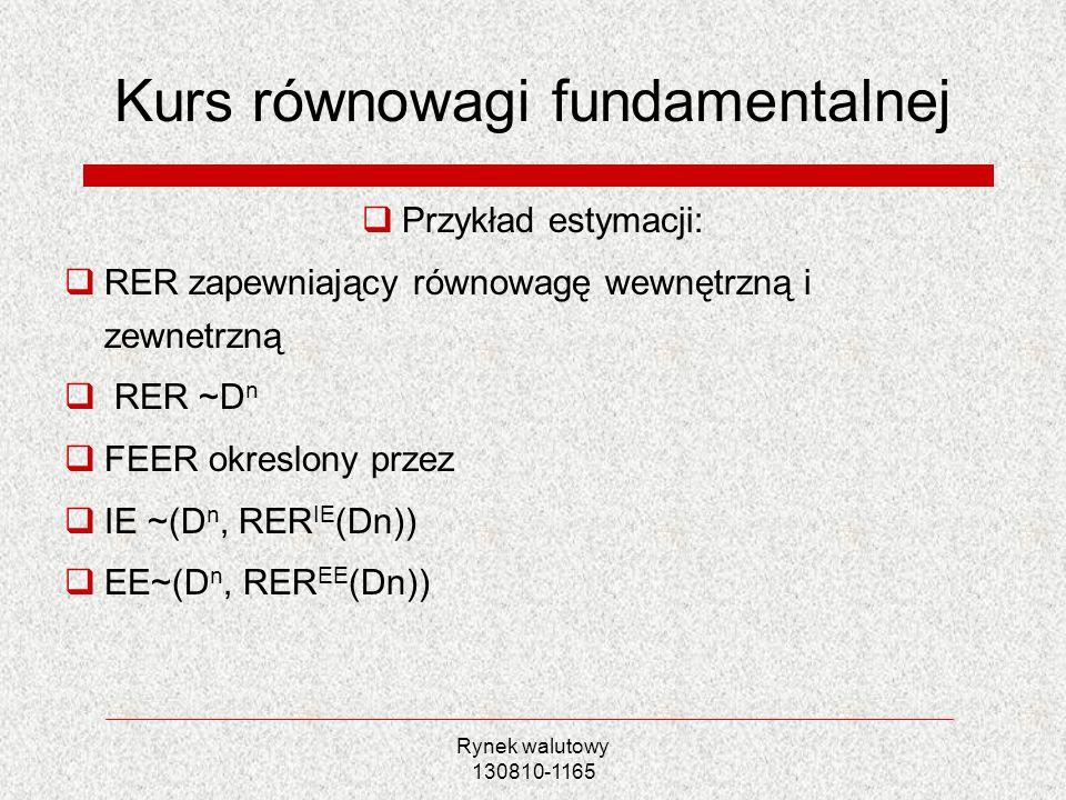 Rynek walutowy 130810-1165 Kurs równowagi fundamentalnej Przykład estymacji: RER zapewniający równowagę wewnętrzną i zewnetrzną RER ~D n FEER okreslon
