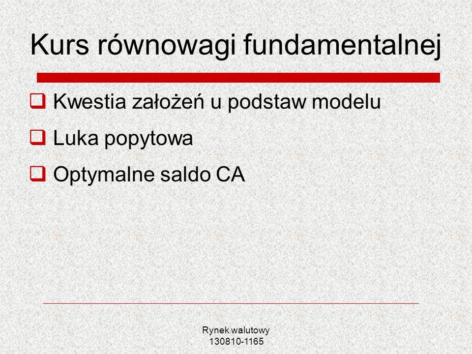 Rynek walutowy 130810-1165 Kurs równowagi fundamentalnej Kwestia założeń u podstaw modelu Luka popytowa Optymalne saldo CA