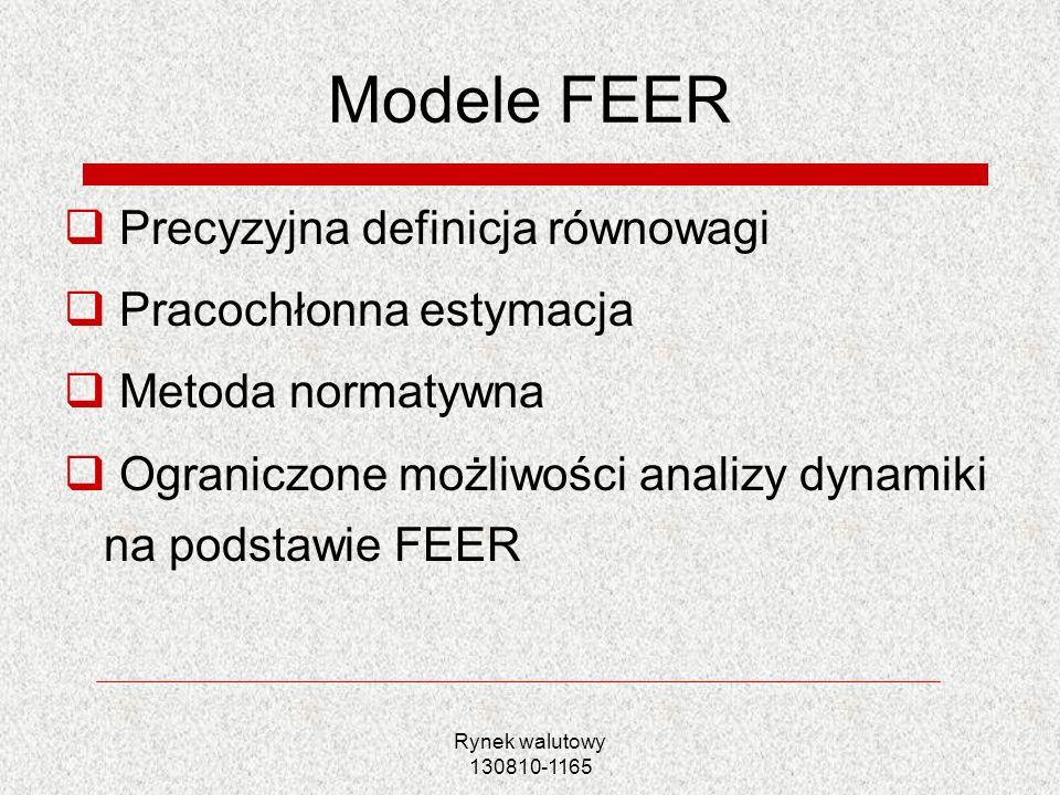 Rynek walutowy 130810-1165 Modele FEER Precyzyjna definicja równowagi Pracochłonna estymacja Metoda normatywna Ograniczone możliwości analizy dynamiki