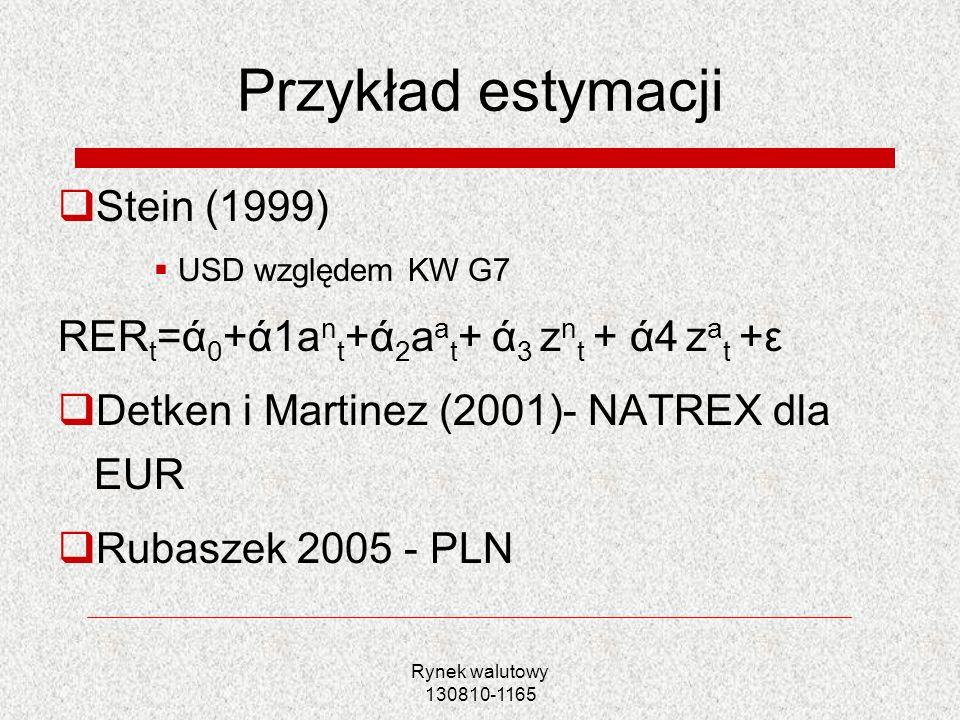 Rynek walutowy 130810-1165 Przykład estymacji Stein (1999) USD względem KW G7 RER t =ά 0 +ά1a n t +ά 2 a a t + ά 3 z n t + ά4 z a t +ε Detken i Martin