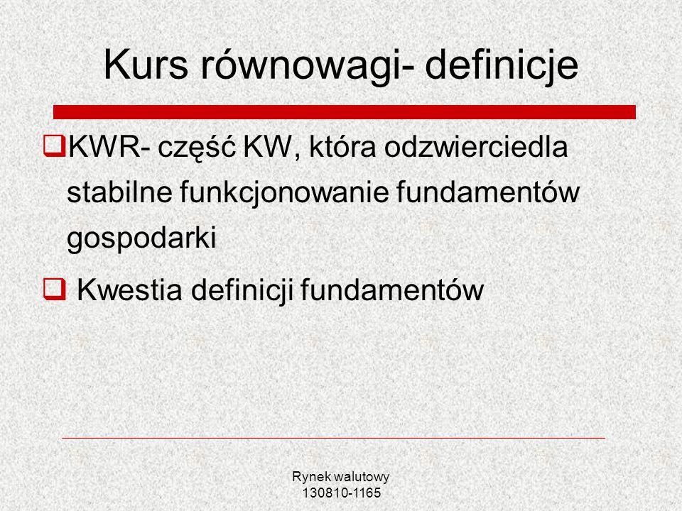 Rynek walutowy 130810-1165 Czynniki KW równowagi KWR rynkowy- czynniki kształtujące popyt i podaż na rynku walutowym KWR krótkookresowy- z pominięciem czynników spekulacyjnych KWR średniookresowy- z pominięciem wahań cyklicznych i sezonowych KWR długookresowy- jedynie czynniki o charakterze zasobowym