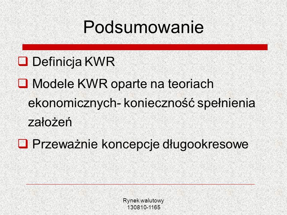 Rynek walutowy 130810-1165 Podsumowanie Definicja KWR Modele KWR oparte na teoriach ekonomicznych- konieczność spełnienia założeń Przeważnie koncepcje