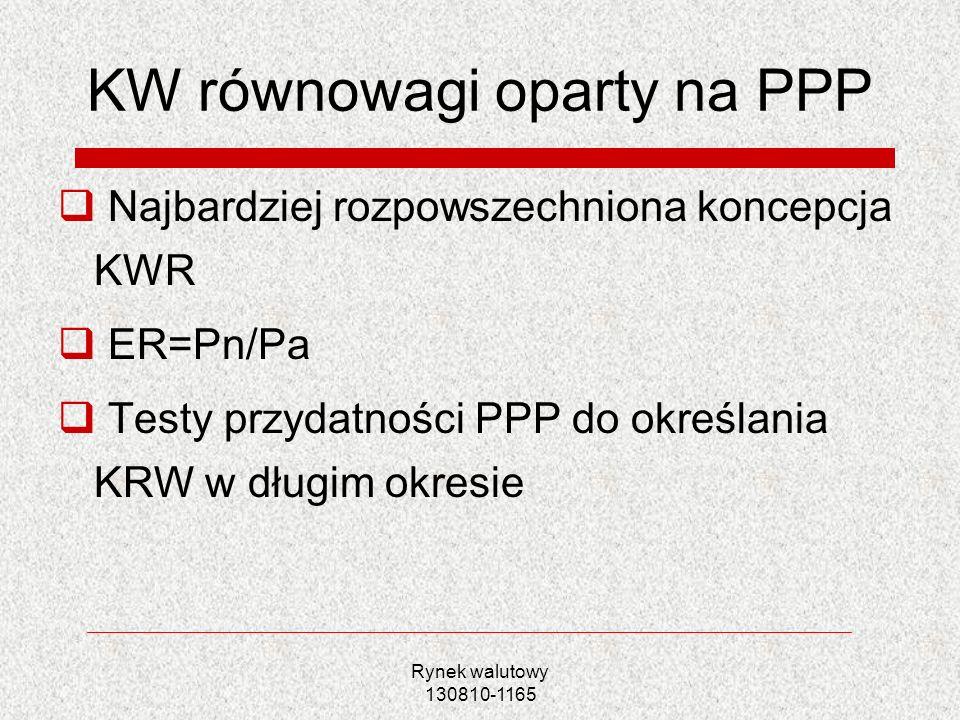 Rynek walutowy 130810-1165 KW równowagi oparty na modelu napływu kapitału Bęza-Bojanowska, Kelm 2005 Rubaszek 2005 RER objaśniany defilowanym wskaźnikiem cen przemysłu przetwórczego i dysparytetem stóp procentowych pomiędzy EUR i PLN