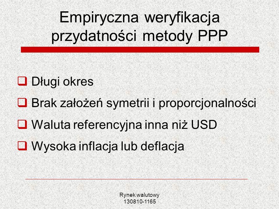 Rynek walutowy 130810-1165 Modelowanie KW PLN na podstawie PPP Przykład estymacji: Wyniki badania Bęza- Bojanowska, Kelm (2005) Test trzeciego rodzaju: EUR/ PLN Deflator IPI Wektor kointegrujący ER t =1,37+1,87p t PL -1,83p t EUR Potwierdzenie względnej wersji teorii