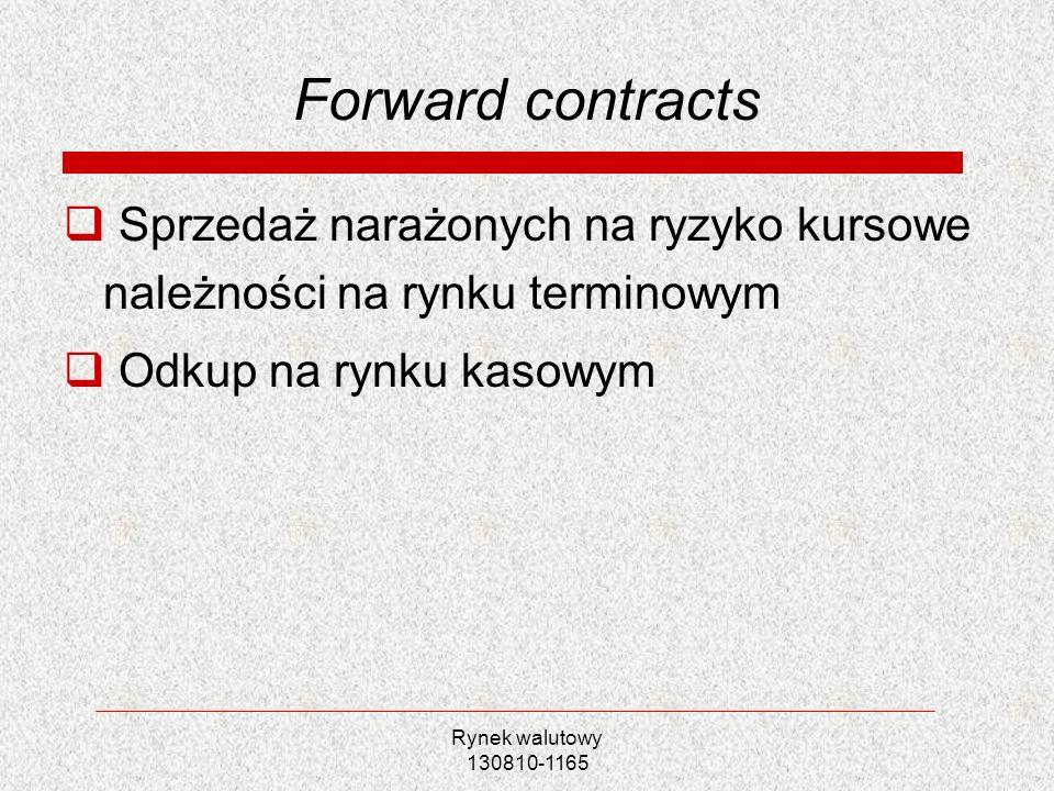 Rynek walutowy 130810-1165 Forward contracts Sprzedaż narażonych na ryzyko kursowe należności na rynku terminowym Odkup na rynku kasowym