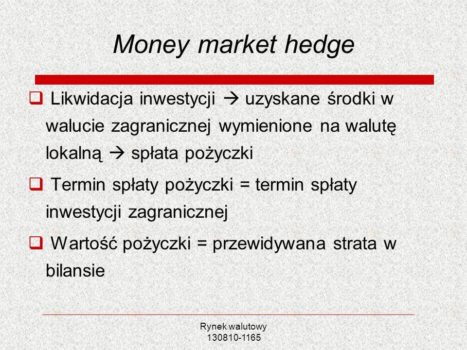 Rynek walutowy 130810-1165 Money market hedge Likwidacja inwestycji uzyskane środki w walucie zagranicznej wymienione na walutę lokalną spłata pożyczk