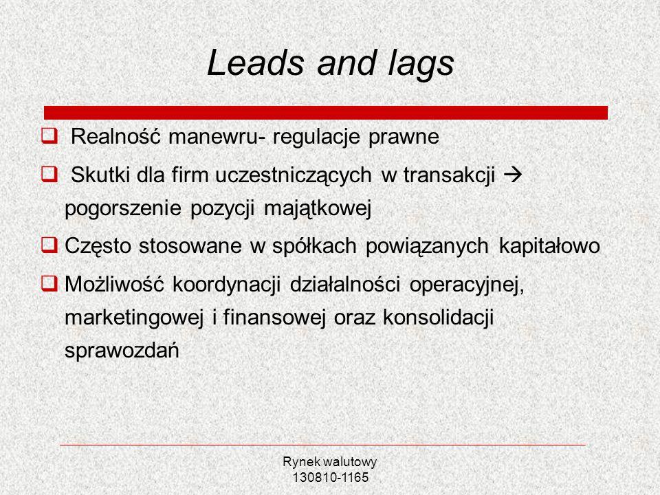 Rynek walutowy 130810-1165 Leads and lags Realność manewru- regulacje prawne Skutki dla firm uczestniczących w transakcji pogorszenie pozycji majątkow