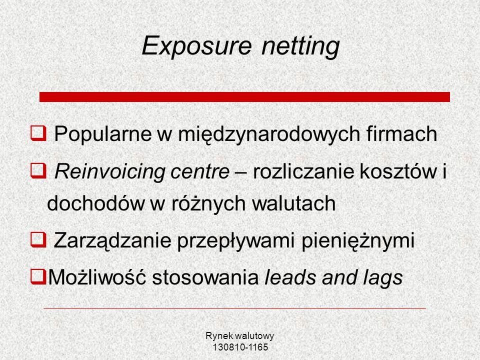 Rynek walutowy 130810-1165 Exposure netting Popularne w międzynarodowych firmach Reinvoicing centre – rozliczanie kosztów i dochodów w różnych walutac