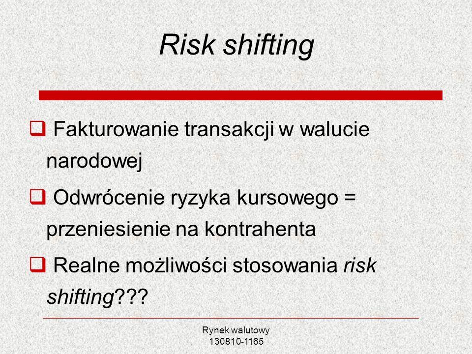 Rynek walutowy 130810-1165 Risk shifting Fakturowanie transakcji w walucie narodowej Odwrócenie ryzyka kursowego = przeniesienie na kontrahenta Realne