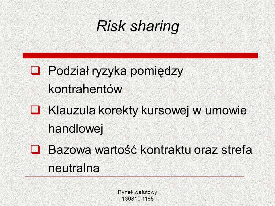 Rynek walutowy 130810-1165 Risk sharing Podział ryzyka pomiędzy kontrahentów Klauzula korekty kursowej w umowie handlowej Bazowa wartość kontraktu ora